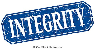 integrity blue square vintage grunge isolated sign