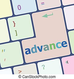 advance on computer keyboard key enter button vector...