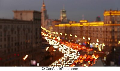 City at night background with cars Out of focus background...