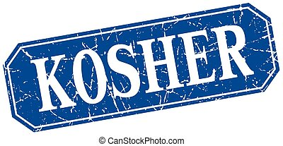 kosher blue square vintage grunge isolated sign