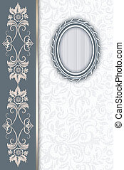 Decorative background with old-fashioned oval frame.