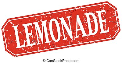 lemonade red square vintage grunge isolated sign