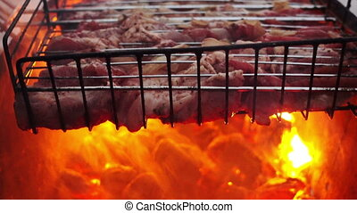 Meat Barbecue Grilled On Charcoal - Meat barbecue grilled on...