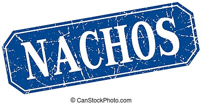 nachos blue square vintage grunge isolated sign