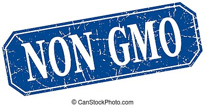 non gmo blue square vintage grunge isolated sign