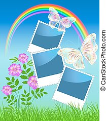 Page layout photo album with rainbow and magic butterflies