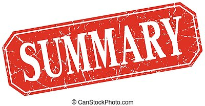 summary red square vintage grunge isolated sign