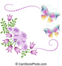 Flowers ornament with butterflies - Flowers ornament and...