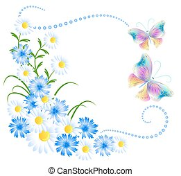 Flowers ornament and butterflies isolated on white...