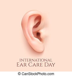 Print - International ear care day Background with realistic...