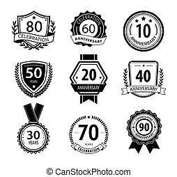 Anniversary sign collection, retro design, black and white
