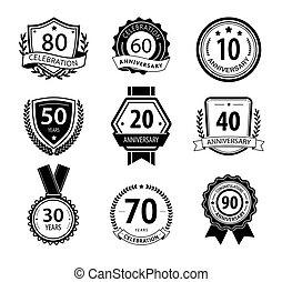 Anniversary sign collection, retro design, black and white