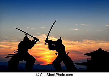 Samurai - Silhouette illustration of samurai combat...