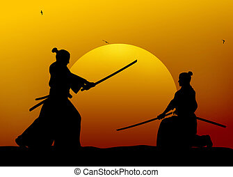 Samurai - Silhouette illustration of samurai combat