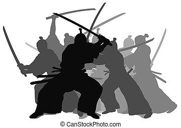 Samurai - Silhouette illustration of samurai combat
