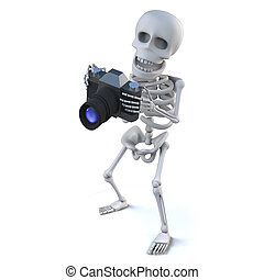 3d Skeleton takes some holiday snaps with his camera - 3d...
