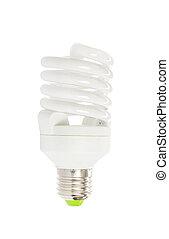 Energy saving fluorescent light bulb on white bakground
