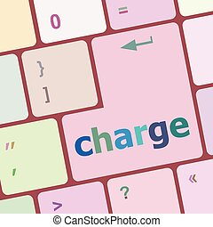 charge button on computer pc keyboard key vector...