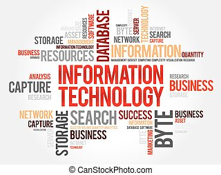 Information technology word cloud, business concept