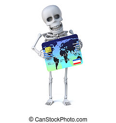 3d Skeleton goes shopping with his debit card - 3d render of...