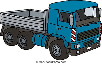 Blue lorry truck - Hand drawing of a blue truck - not a real...