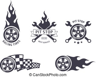 Racing tires and service vector emblems flat design