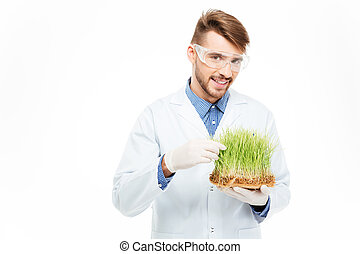 Male engineer showing a modified plants - Handsome male...