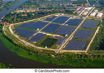 Solar farm, solar panels from the air - Solar farm, solar...