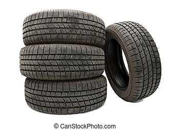 Tyres - Car tyres in a pile isolated on white