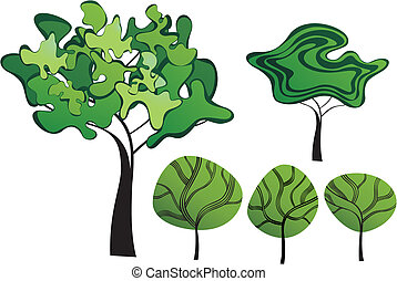 Set of creative trees - Set of creative vector trees
