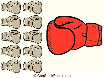 Boxing glove against others - Big boxing glove against the...