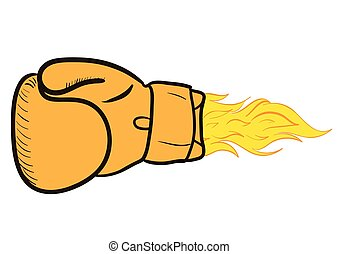 Fiery boxing glove - Powerful orange boxing glove with a...