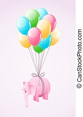 Small pink elephant flying at colourful air balloon vector...