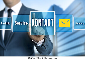 Contact (in german language Kontakt) touchscreen is operated...