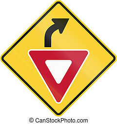United States non-MUTCD-compliant road sign - Yield ahead