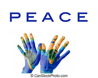 Peace on Earth - A pair of hands on a bird-kind position,...