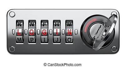 Combination letter lock for your website with login, key and...