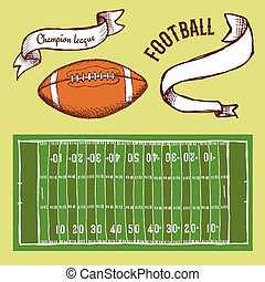 Sketch football set in vintage style, vector