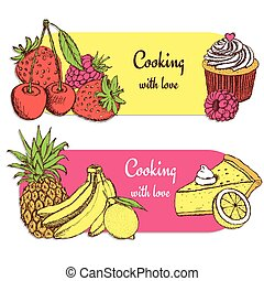 Sketch food banners