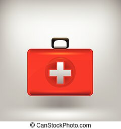 First Aid  Kit Isolated on Grey Soft Background