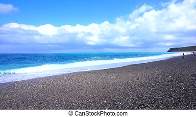 blue ocean sea of Haulien,Taiwan - Beautiful pan shot HD...