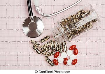 relatório, cardiograma, médico