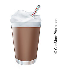 Chocolate milk shake drink - Illustration of a realistic...