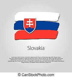 Slovakia Flag with colored hand drawn lines in Vector Format