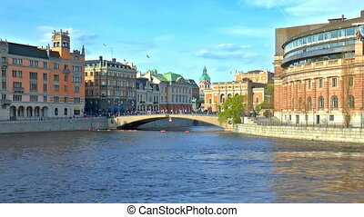 Old Town in Stockholm, Sweden - Scenic summer panorama of...