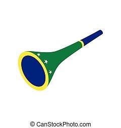 Vuvuzela trumpet icon, isometric 3d style