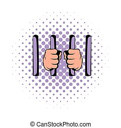 Man behind jail bars icon, comics style