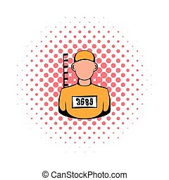 Prisoner in hat with number icon, comics style - Prisoner in...