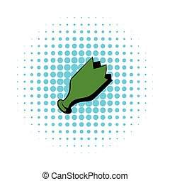 Shattered green bottle icon, comics style - Shattered green...