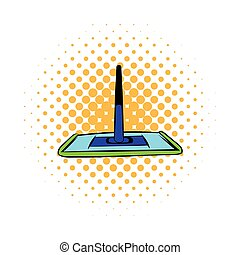 Floor cleaning mop icon, comics style